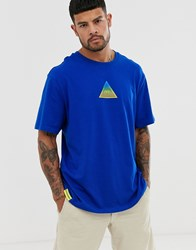 Bershka Oversized T Shirt In Royal Blue With Triangle Print Blue