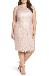 Adrianna Papell Plus Size Women's Sequin Guipure Lace Sheath Dress
