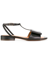 Chie Mihara T Strap Flat Sandals Black