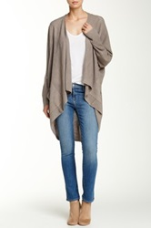 Sweet Romeo Open Front Mesh Stitch Cardigan Brown