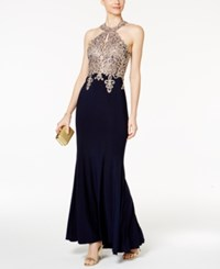 Xscape Evenings Embroidered Mesh Halter Gown Navy Gold
