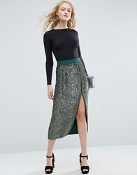 Asos Pencil Skirt With Contrast Sequin Green Grey