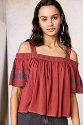 Staring At Stars Embroidered Cold Shoulder Blouse Orange