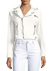 Saks Fifth Avenue Cropped Moto Jacket White