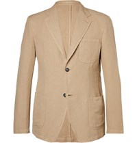 Massimo Alba Sand Slim Fit Unstructured Linen And Cotton Blend Blazer Sand