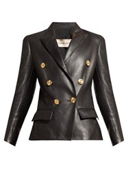 Alexandre Vauthier Double Breasted Leather Blazer Black
