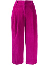 Pt01 Velvet Corded Cropped Trousers Pink