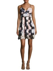Design Lab Lord And Taylor Floral Lace Dress Pink Combo
