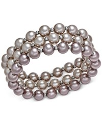 Charter Club Silver Tone Ombre Imitation Pearl Three Row Stretch Bracelet Only At Macy's Multi Pearl