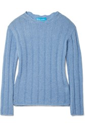 Mih Jeans M.I.H Carolee Ribbed Mohair Blend Sweater Light Blue