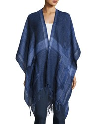 Vince Camuto Woven Ikat Plaid Blanket Poncho Blue