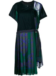 Sacai T Shirt Dress With Pleated Skirt Cotton Polyester Cupro Green