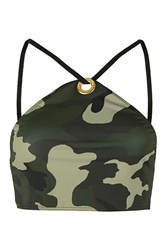 Camo High Neck Crop Bikini Top By Jaded London Multi