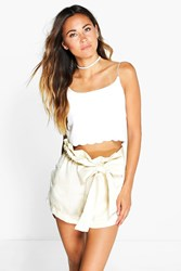 Boohoo Bow Detail Short Beige
