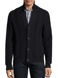 Luciano Barbera Cotton Ribbed Knit Cardigan Navy