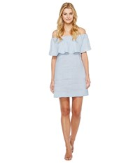 7 For All Mankind Striped Off Shoulder Dress Light Blue White Stripe Women's Dress