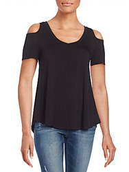 Saks Fifth Avenue Red Solid Cold Shoulder Top Black