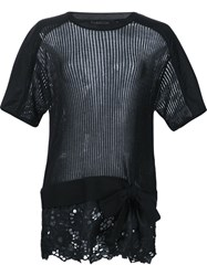 Thakoon Embroidered Hem Top Black