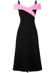 Christian Siriano Structured Collar Midi Dress Black