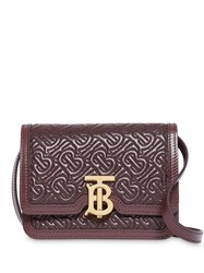 Burberry Mini Quilted Monogram Lambskin Tb Bag Red