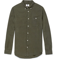 Nn.07 New Dereck Garment Dyed Linen Shirt Green