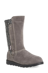 Muk Luks 'Stacy' Water Resistant Sweater Knit Boot Women Grey Faux Suede