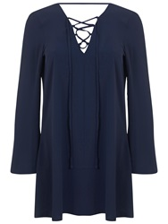 Miss Selfridge Long Sleeve Lace Tunic Navy