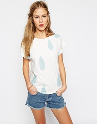 People Tree Organic Cotton T Shirt With Rain Drop Print Ecowhite