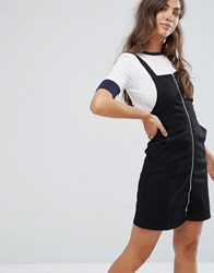 Girls On Film Denim Dungaree Dress Black