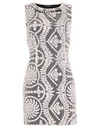Chase 7 Embroidered Necklace Detail Dress Black