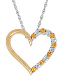 Macy's Citrine 1 4 Ct. T.W. And Diamond Accent Heart Pendant Necklace In Sterling Silver And 14K Gold Two Tone