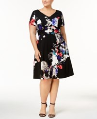 Sangria Plus Size Printed Fit And Flare Dress Black