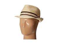 Tommy Bahama Buri Straw Fedora With Contrast Trim Natural Traditional Hats Beige