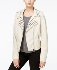 Fair Child Studded Faux Leather Moto Jacket Winter White
