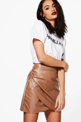 Boohoo Rouched Side Leather Look Mini Skirt Taupe