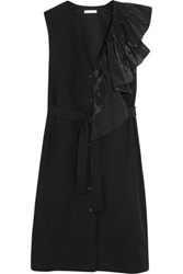Tome Ruffled Taffeta Trimmed Cotton Dress Black