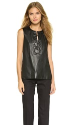 Tess Giberson Lace Up Leather Panel Top Black