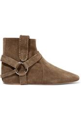 Isabel Marant Ralf Embellished Suede Ankle Boots Army Green