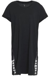 Versus By Versace Printed Mesh Trimmed Cotton Jersey Mini Dress Black