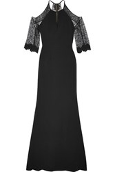 Roland Mouret Carrington Cutout Lace Paneled Stretch Crepe Gown Black