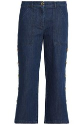 Michael Kors Cropped Button Detailed High Rise Straight Leg Jeans Dark Denim