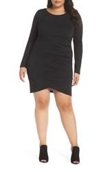 Leith Plus Size Ruched Body Con Dress Black