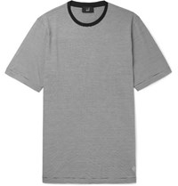 Dunhill Striped Cotton And Mulberry Silk Blend T Shirt Gray