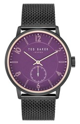 Ted Baker London Owen Mesh Strap Watch 42Mm Dark Purple Black