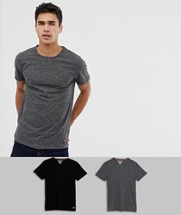 Superdry Organic Cotton Slim Fit Two Pack Lounge T Shirt In Navy Grey Multi