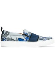 Christian Pellizzari Floral Jacquard Slip On Shoes Blue
