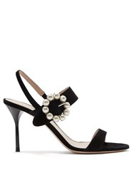 Miu Miu Faux Pearl Embellished Suede Sandals Black