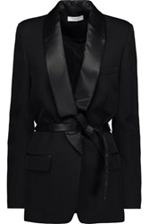 Iro Shera Satin And Leather Trimmed Wool Blend Blazer Black