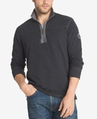 G.H. Bass And Co. Men's Zip Up Pullover Black Heather
