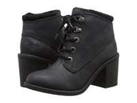 Blowfish Misty Black Texas Pu Knit Cuff Women's Lace Up Boots